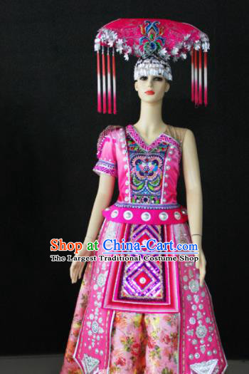 Chinese Traditional Zhuang Nationality Wedding Pink Dress Ethnic Folk Dance Costume for Women