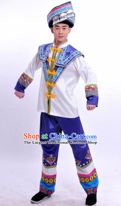Chinese Traditional Ethnic Prince Costume Zhuang Nationality Festival Folk Dance Clothing for Men