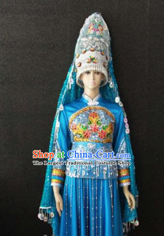 Chinese Traditional Naxi Nationality Embroidered Blue Dress Ethnic Bride Folk Dance Costume for Women