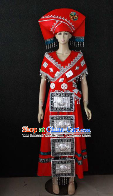 Chinese Traditional Zhuang Nationality Wedding Red Dress Ethnic Bride Folk Dance Costume for Women