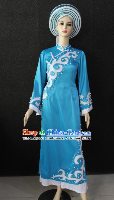 Chinese Traditional Jing Nationality Blue Dress Ethnic Folk Dance Costume for Women