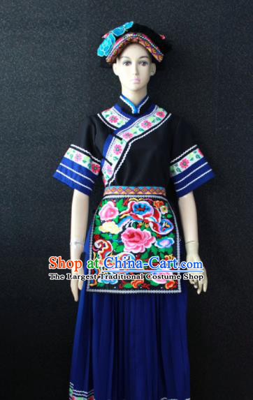Chinese Traditional Buyei Nationality Navy Dress Ethnic Bride Folk Dance Costume for Women