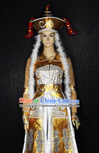 Chinese Traditional Mongols Nationality Princess Golden Dress Ethnic Bride Folk Dance Costume for Women