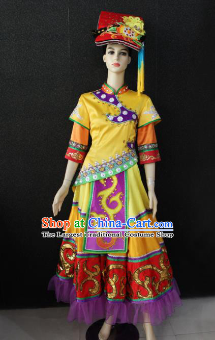 Chinese Traditional Qiang Nationality Yellow Dress Ethnic Folk Dance Costume for Women