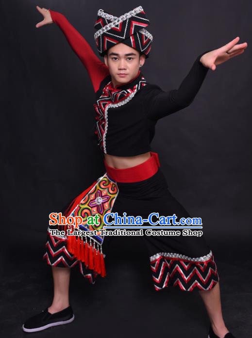 Chinese Traditional Ethnic Costume Maonan Nationality Festival Folk Dance Clothing for Men