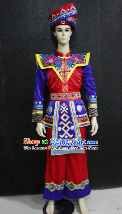 Chinese Traditional Ethnic Folk Dance Costume Zhuang Nationality Festival Bridegroom Clothing for Men