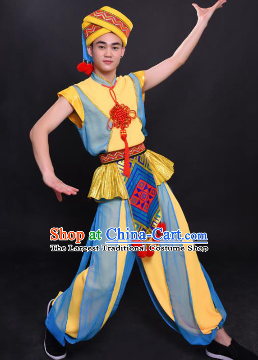 Chinese Traditional Ethnic Yellow Costume Yao Nationality Festival Folk Dance Clothing for Men