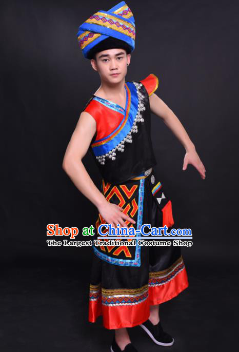 Chinese Traditional Ethnic Black Costume Zhuang Nationality Festival Folk Dance Clothing for Men