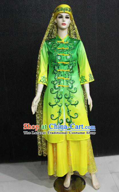 Chinese Traditional Hui Nationality Green Dress Ethnic Folk Dance Costume for Women