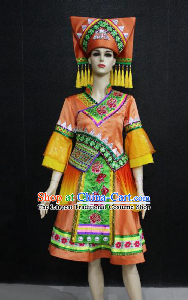 Chinese Traditional Zhuang Nationality Orange Dress Ethnic Folk Dance Costume for Women
