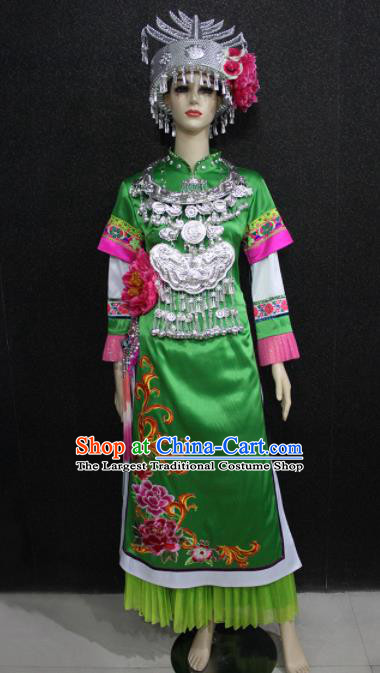 Chinese Traditional Shui Nationality Wedding Green Dress Ethnic Folk Dance Costume for Women