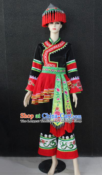 Chinese Traditional Maonan Nationality Black Clothing Ethnic Folk Dance Costume for Women
