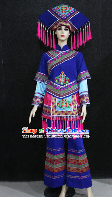 Chinese Traditional Zhuang Nationality Female Blue Clothing Ethnic Folk Dance Costume for Women