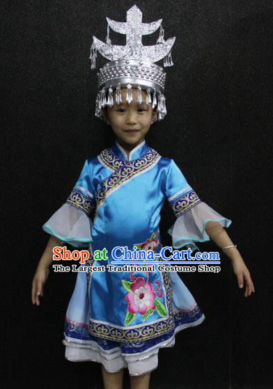 Chinese Traditional Folk Dance Costume Shui Nationality Ethnic Blue Dress for Kids