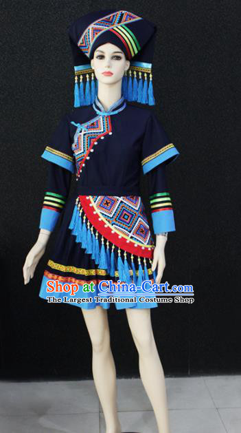Chinese Traditional Zhuang Nationality Female Navy Dress Ethnic Folk Dance Costume for Women