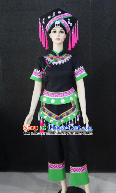 Chinese Traditional Zhuang Nationality Black Clothing Ethnic Folk Dance Costume for Women