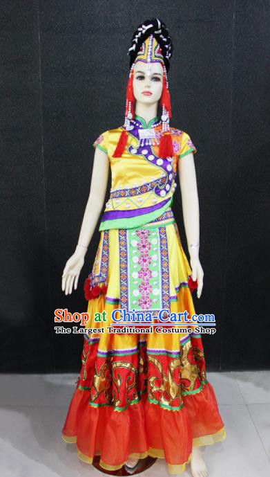 Chinese Traditional Yao Nationality Wedding Dress Ethnic Folk Dance Costume for Women