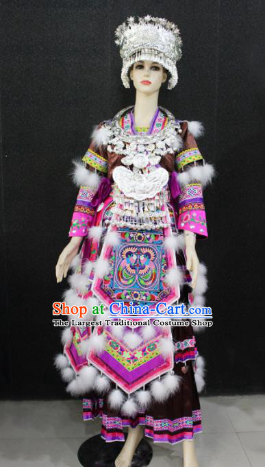 Chinese Traditional Miao Nationality Wedding Brown Dress Ethnic Folk Dance Costume for Women