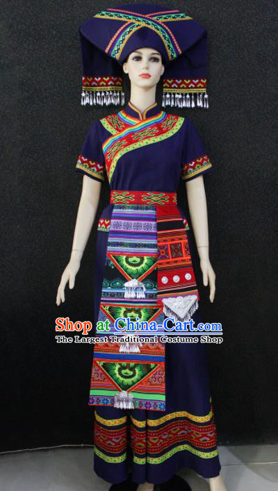 Chinese Traditional Zhuang Nationality Navy Blue Dress Ethnic Folk Dance Costume for Women