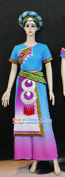 Chinese Traditional Zhuang Nationality Female Blue Dress Ethnic Folk Dance Costume for Women
