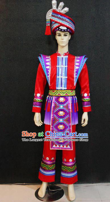 Chinese Traditional Ethnic Folk Dance Red Costume Zhuang Nationality Festival Clothing for Men