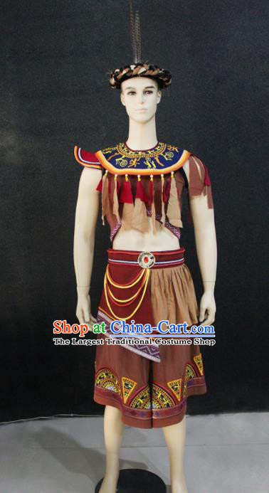 Chinese Traditional Ethnic Brown Costume Zhuang Nationality Festival Folk Dance Clothing for Men