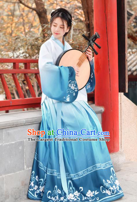 Traditional Chinese Ming Dynasty Nobility Lady Historical Costume Ancient Blue Hanfu Dress for Women