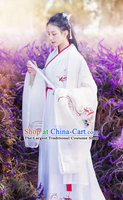 Chinese Ancient Peri White Hanfu Dress Traditional Jin Dynasty Swordswomen Historical Costume for Women