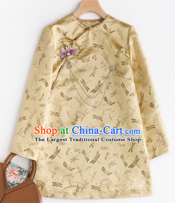 Chinese Traditional National Costume Tang Suit Golden Brocade Jacket Upper Outer Garment for Women