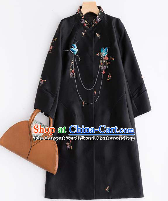 Chinese Traditional National Costume Tang Suit Black Dust Coat Embroidered Upper Outer Garment for Women