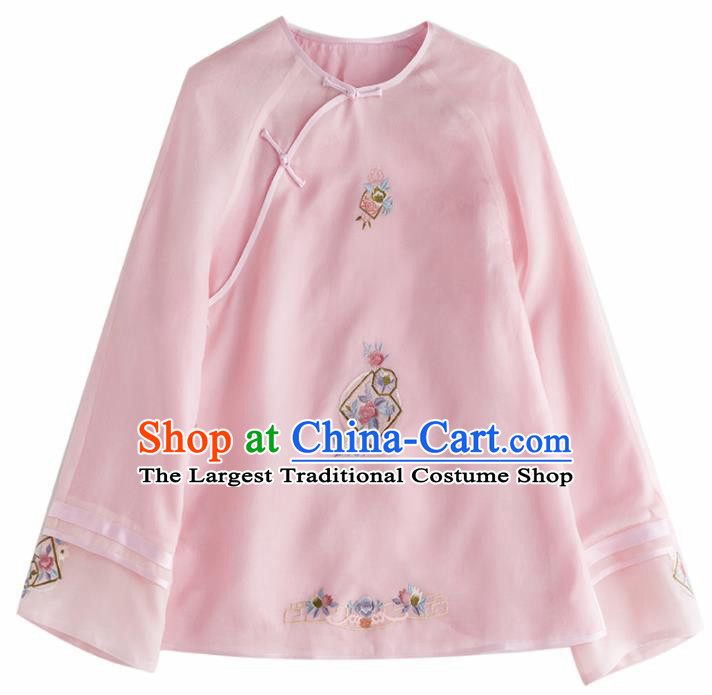 Chinese Traditional National Costume Tang Suit Embroidered Pink Blouse Upper Outer Garment for Women