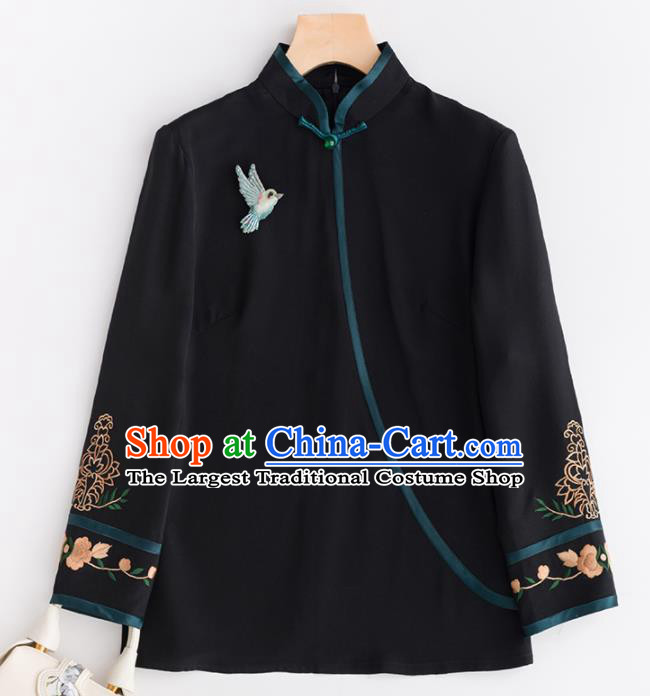 Chinese Traditional National Costume Tang Suit Upper Outer Garment Black Jacket for Women