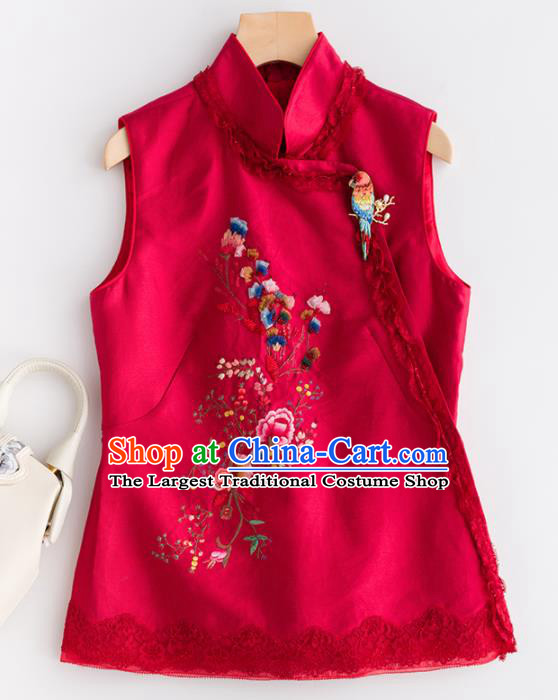 Traditional Chinese National Costume Tang Suit Rosy Vest Upper Outer Garment for Women