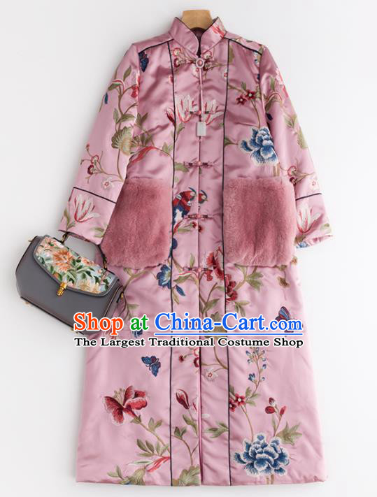 Chinese Traditional National Winter Costume Tang Suit Upper Outer Garment Embroidered Pink Coat for Women