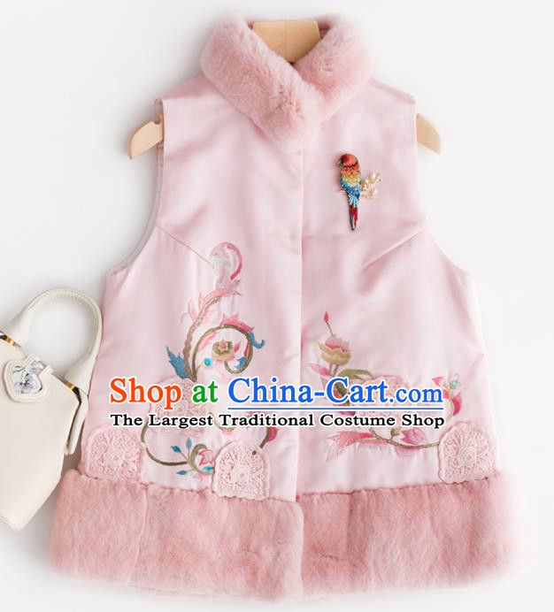 Traditional Chinese National Costume Tang Suit Pink Wool Waistcoat Upper Outer Garment for Women