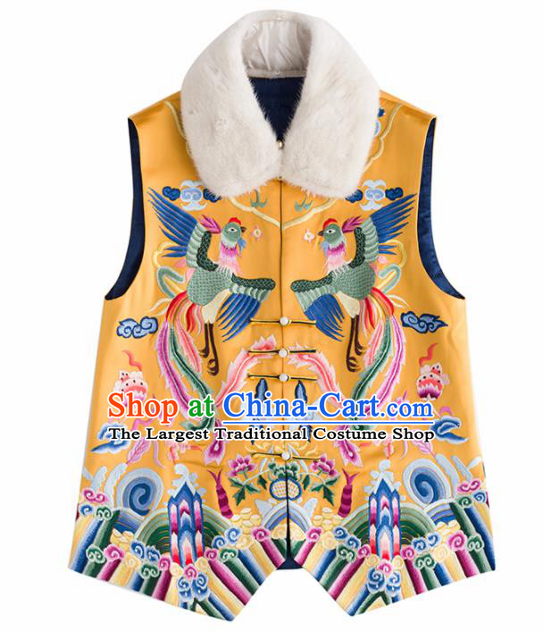 Traditional Chinese National Costume Tang Suit Embroidered Yellow Waistcoat Upper Outer Garment for Women