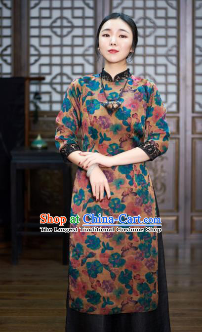 Chinese Traditional National Costume Tang Suit Printing Cheongsam Qipao Dress for Women