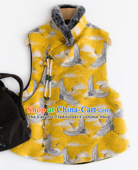 Traditional Chinese National Costume Tang Suit Embroidered Cranes Yellow Waistcoat Upper Outer Garment for Women