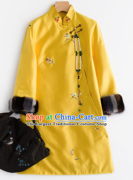 Chinese Traditional National Costume Tang Suit Cheongsam Winter Yellow Qipao Dress for Women