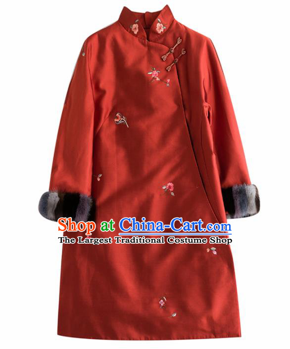 Chinese Traditional National Costume Tang Suit Cheongsam Winter Rust Red Qipao Dress for Women