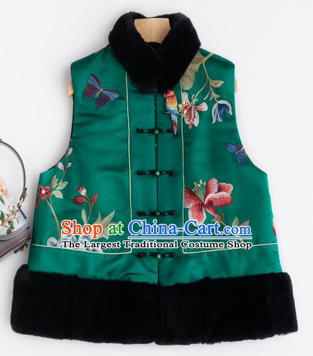 Traditional Chinese National Costume Tang Suit Green Waistcoat Upper Outer Garment for Women