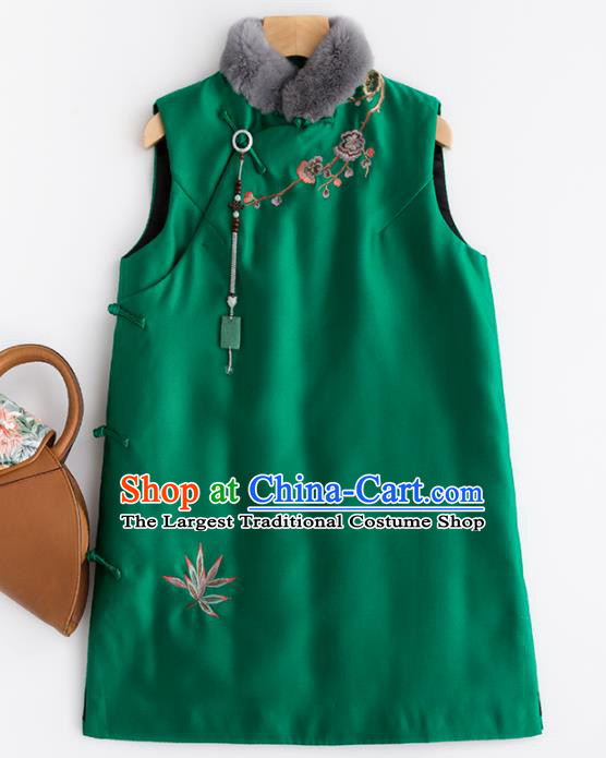 Traditional Chinese National Costume Tang Suit Embroidered Green Waistcoat for Women