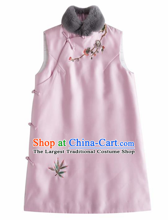Traditional Chinese National Costume Tang Suit Embroidered Pink Waistcoat for Women