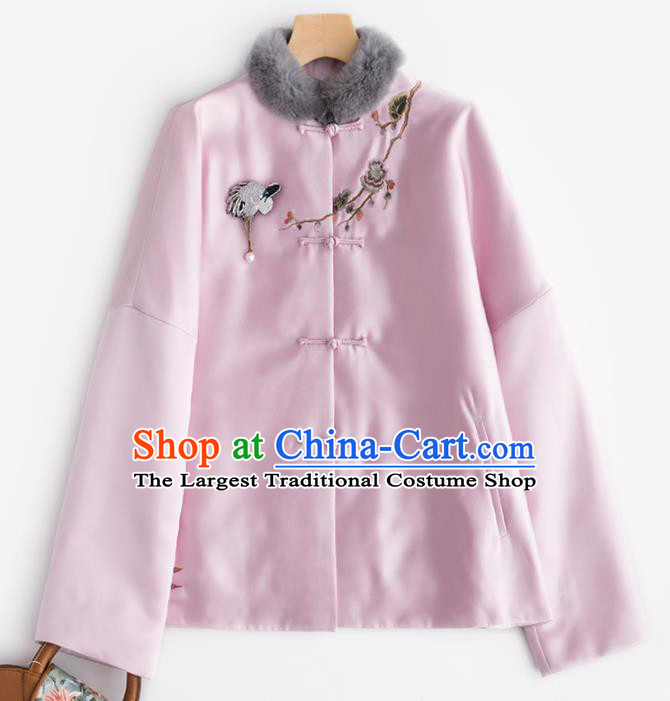 Chinese Traditional Tang Suit Pink Cotton Wadded Jacket National Costume Upper Outer Garment for Women