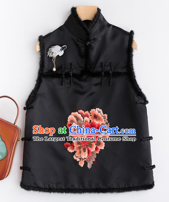 Traditional Chinese National Costume Tang Suit Embroidered Peony Black Waistcoat for Women