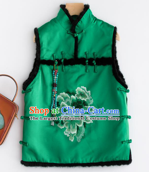 Traditional Chinese National Costume Tang Suit Embroidered Peony Green Waistcoat for Women