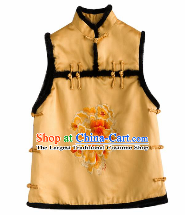 Traditional Chinese National Costume Tang Suit Embroidered Peony Yellow Waistcoat for Women