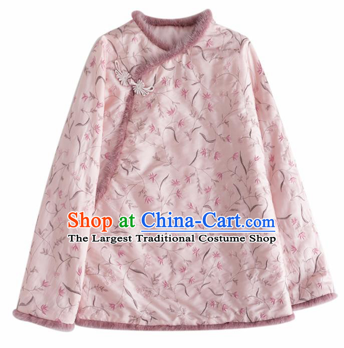 Chinese Traditional Tang Suit Pink Cotton Padded Jacket National Costume Upper Outer Garment for Women