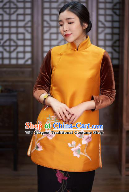 Traditional Chinese National Costume Tang Suit Embroidered Magnolia Yellow Waistcoat for Women
