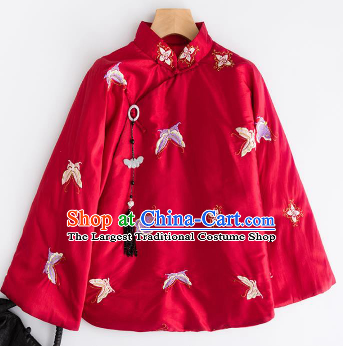 Chinese Traditional Tang Suit Embroidered Butterfly Red Cotton Padded Jacket National Costume Outer Garment for Women